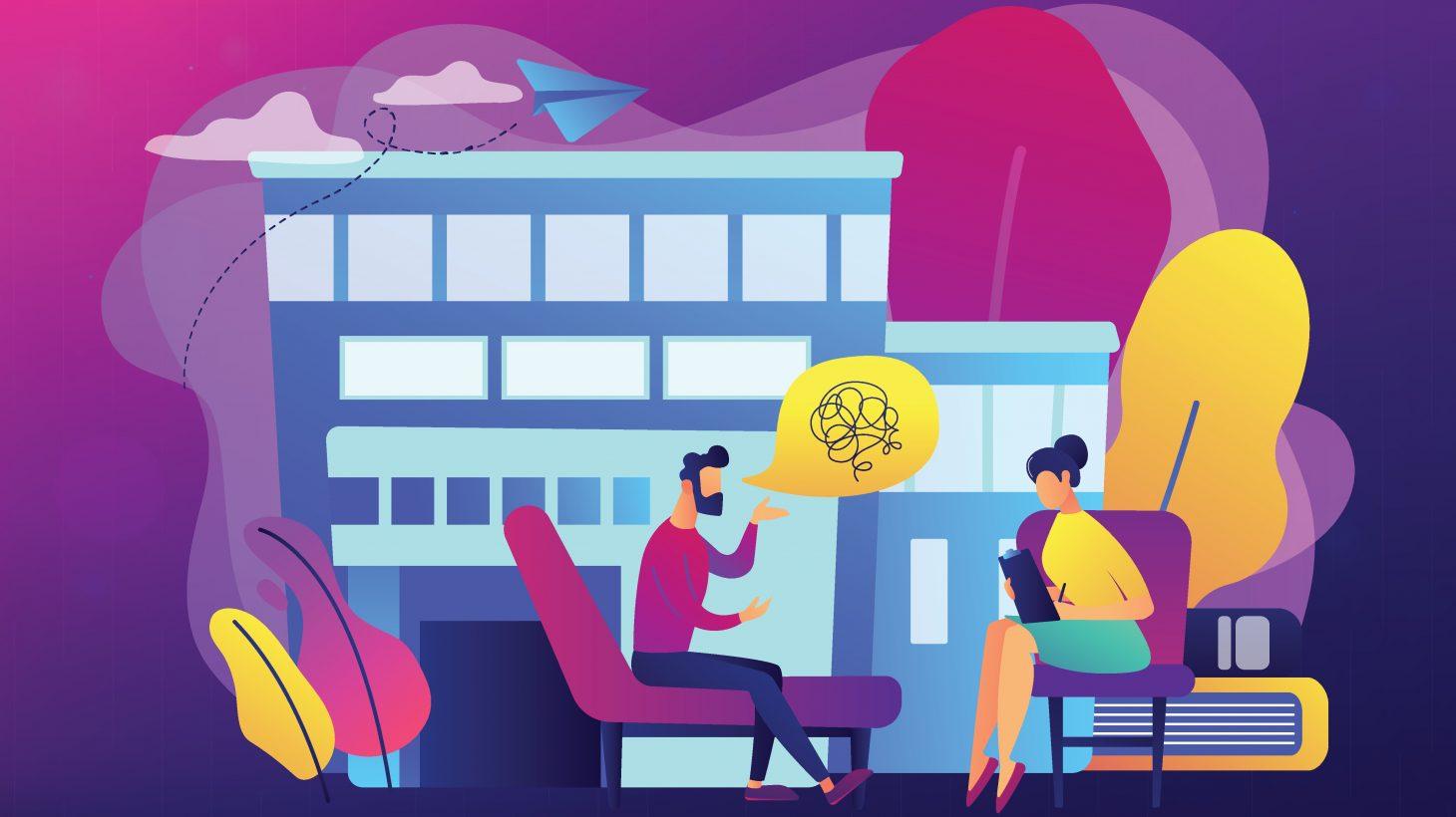 Tecknad man och kvinna sitter i lila fåtölj och samtalar.