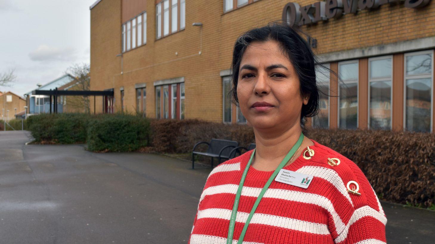 Sumita Bhattacharyya, förstelärare i matematik och programmering på Oxievångsskolan.