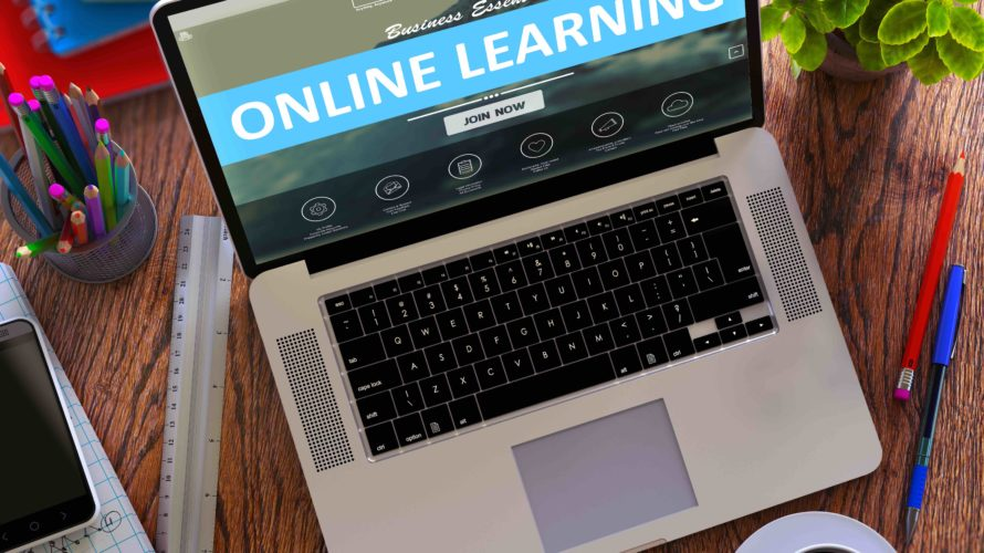 Online learning står det på datorskärm.