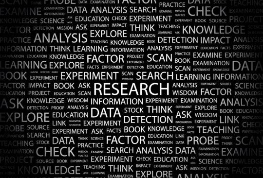 Ordmoln med massor av ord kopplade till forskning.