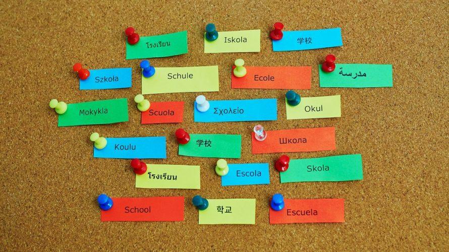 Ordet skola står på massa olika språk på små färgglada papperslappar