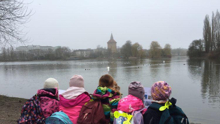 Barn står framför damm i Pildammsparken och spanar på fåglar.