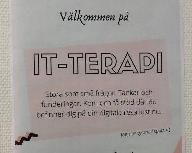 Affisch om att alla är välkomna på IT-terapi.