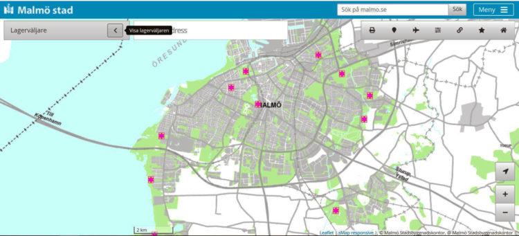 Kartbild över Malmö.