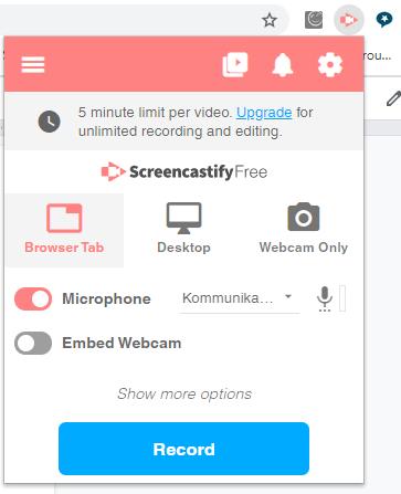 Skärmdump från screencastify.