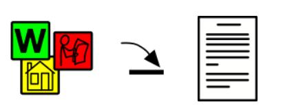 Tecknade symboler med en pil mot ett dokument.