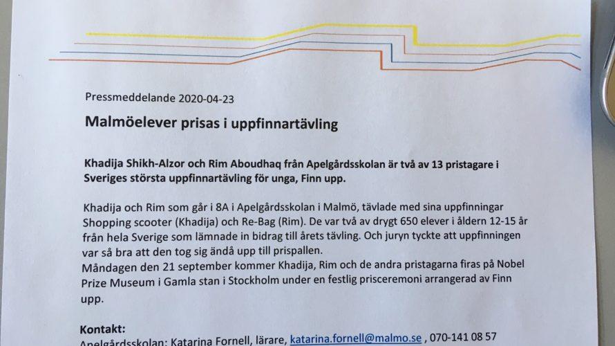 Pressmeddelande om att Malmöelever har vunnit.