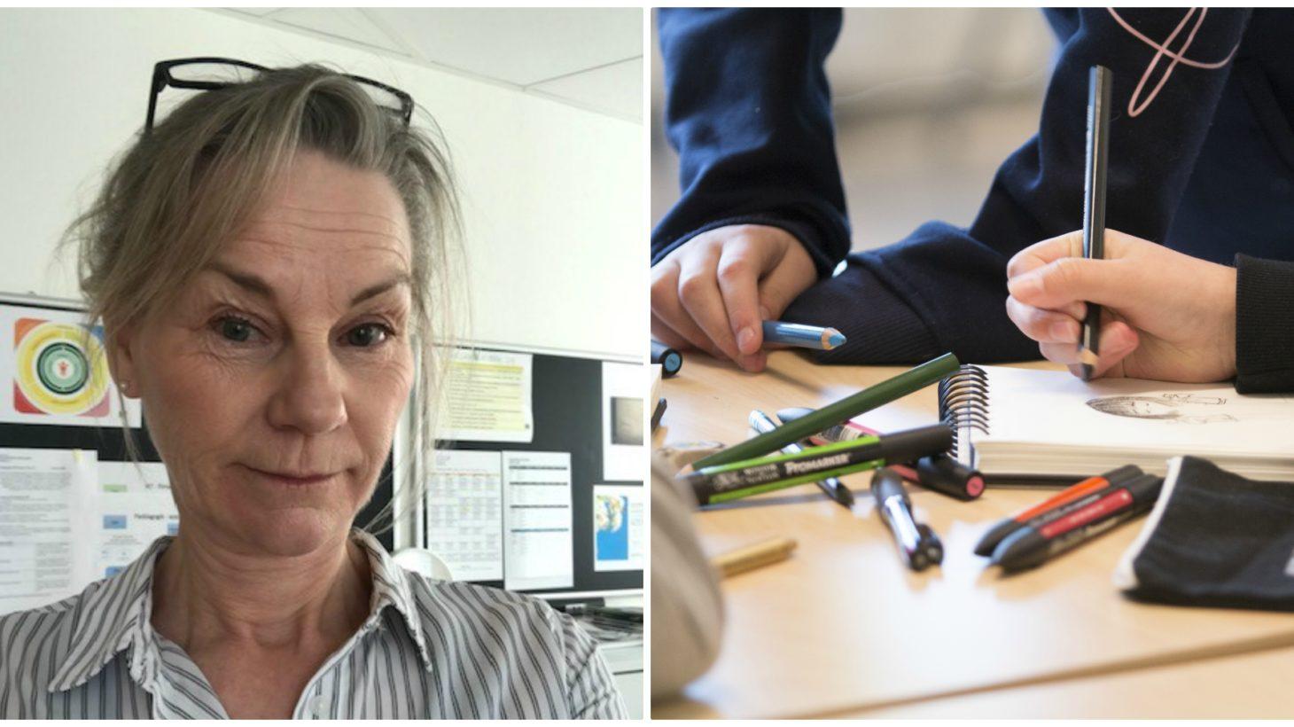 Susanne Trossö och barnhänder som ritar och skriver i ett block