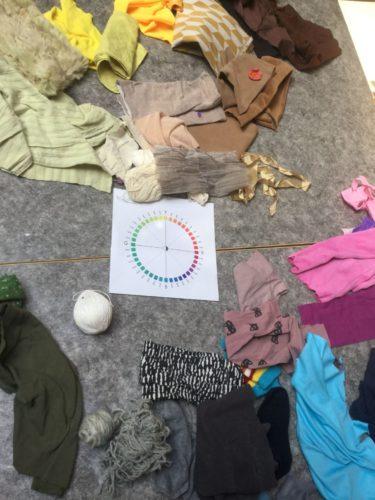 En färgkarta med kläder i olika färger runt om.