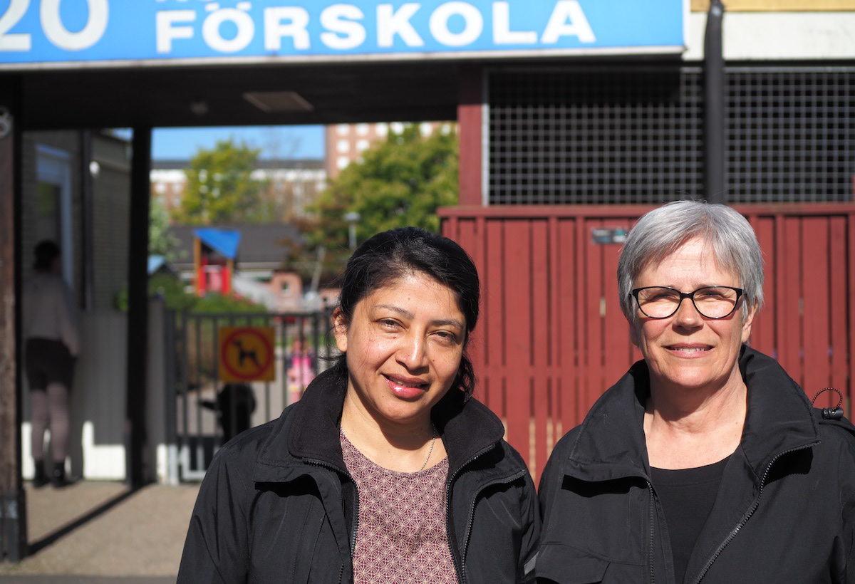 Claudia Romero Larsson och Ingrid Christensson, förskollärare.