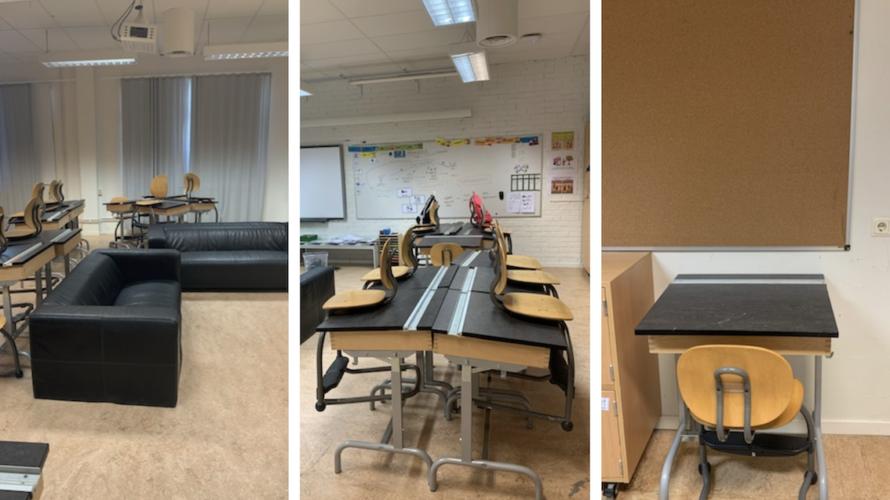 Exempel på hur Maria Simbotin möblerar sitt klassrum: ett par soffor i mitten av rummet, samlade bänkar med plats för fyra elever och en plats där en elev kan sitta och arbeta själv.