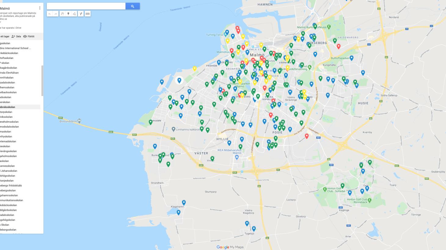Skärmavbild av en google karta
