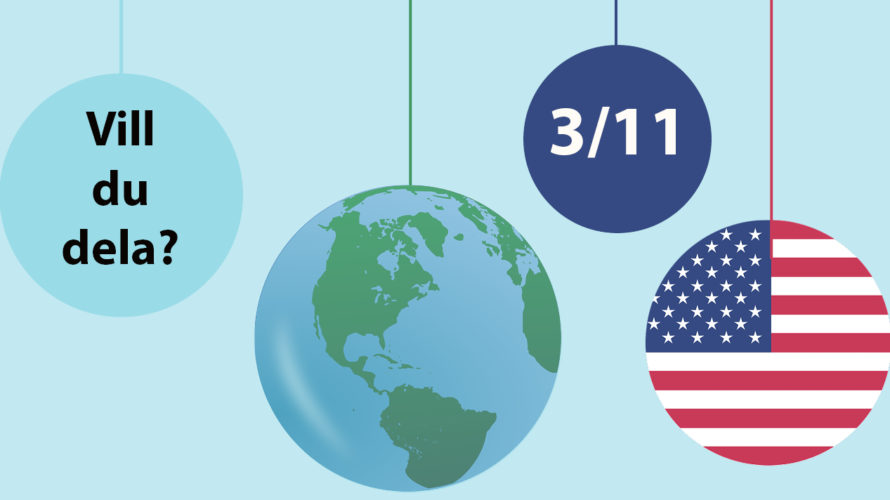 En jordbglob och den amerikanska flaggan.