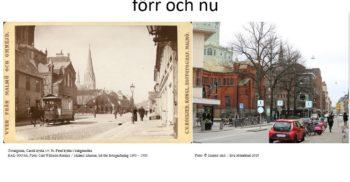 Bilden visar Caroli kyrka i slutet av 1800-talet och i nutid.