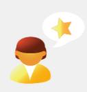 En illustrerad person med en pratbubbla innehållande en stjärna.