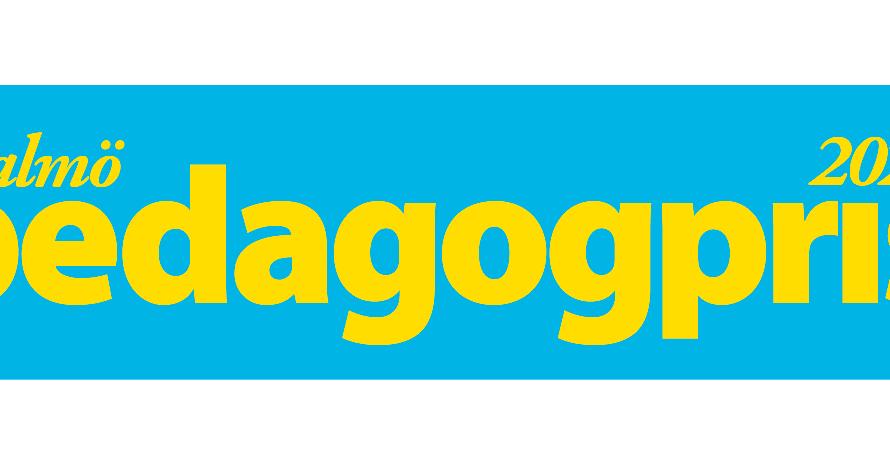 Gul text mot en blå bakgrund med texten: Malmö pedagogpris 2020.