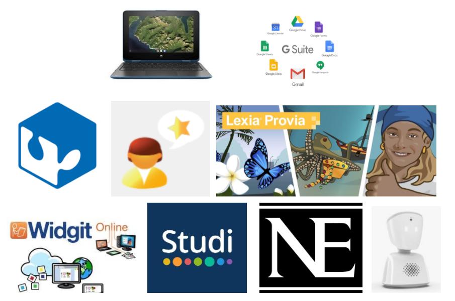 Nio olika symboler för de digitala verktygen, till exempel en laptop, Google Suite, Nationalencyklopedin.
