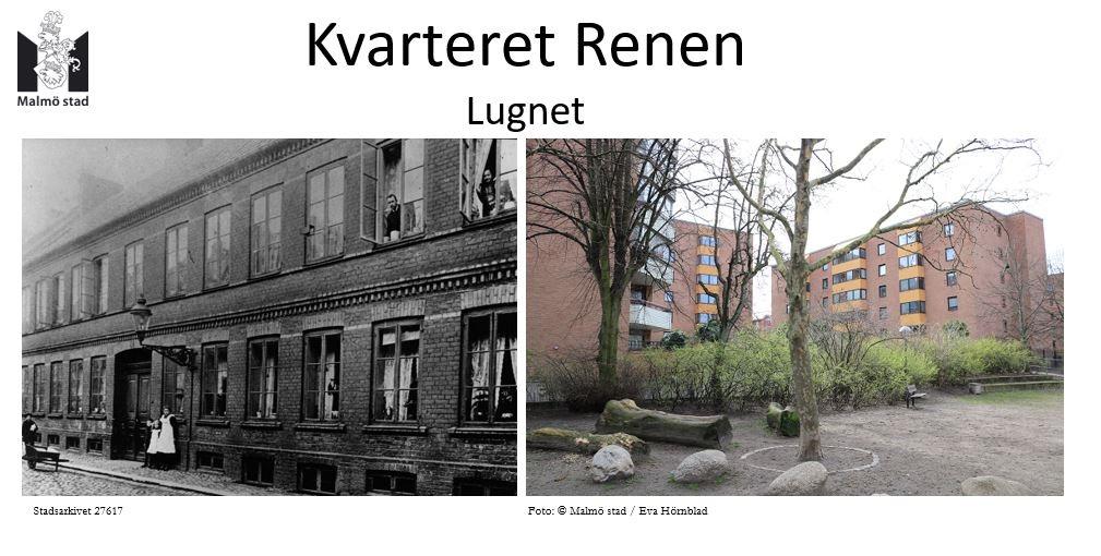 Bilden visar kvarteret Renen på Lugnet i slutet av 1800-talet och idag.