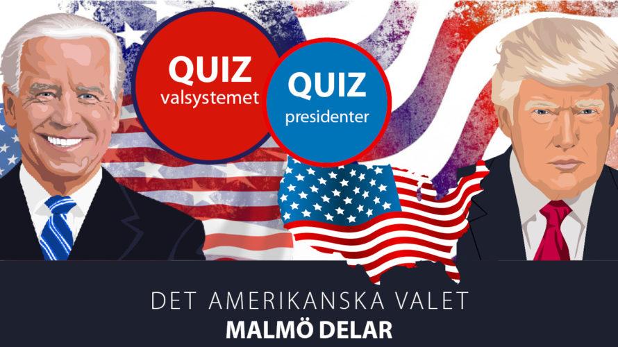Tecknad bild på presidentkandidaterna 2020 med amerikanska flaggor som bakgrund.
