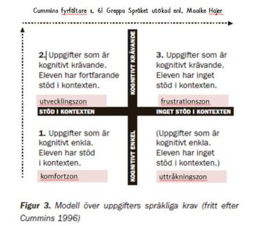 Modell över uppgifters språkliga krav.
