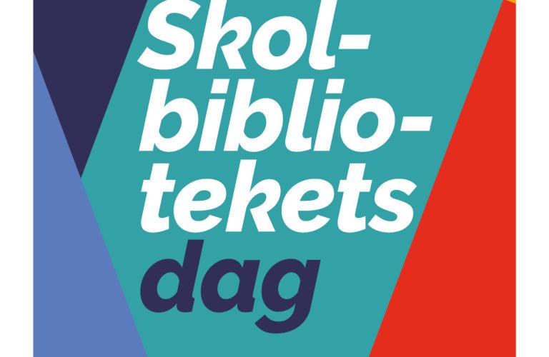 Färgglad bakgrund med texten: Skolbibliotekets dag, datum och Nationella skolbiblioteksgruppen.