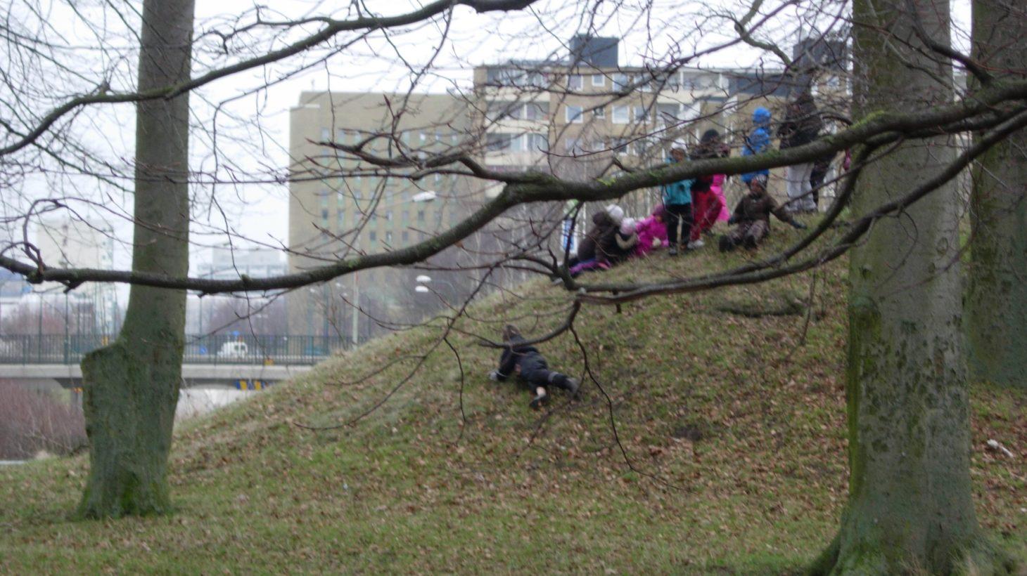 Bilden visa barn som leker på en kulle. Kullen är en fornlämning.