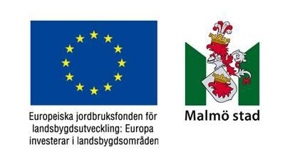 Logotyper för Europeiska jordbruksfonden och Malmö stad.