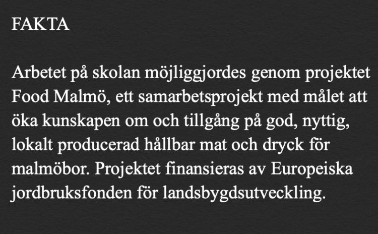 Faktaruta om att Food Malmö och Europeiska jordbruksfonden.