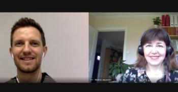 Fredrik Johansson och Helena Jeppsson, sva-lärare på Komvux Malmö, i ett videomöte i google meet.