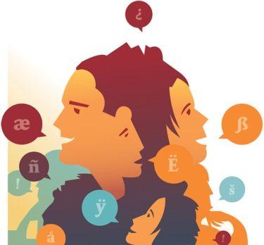 Illustrerad bild där ansikten talar olika språk.