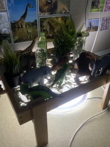 Plastdjur och växter står på ett ljusbord.