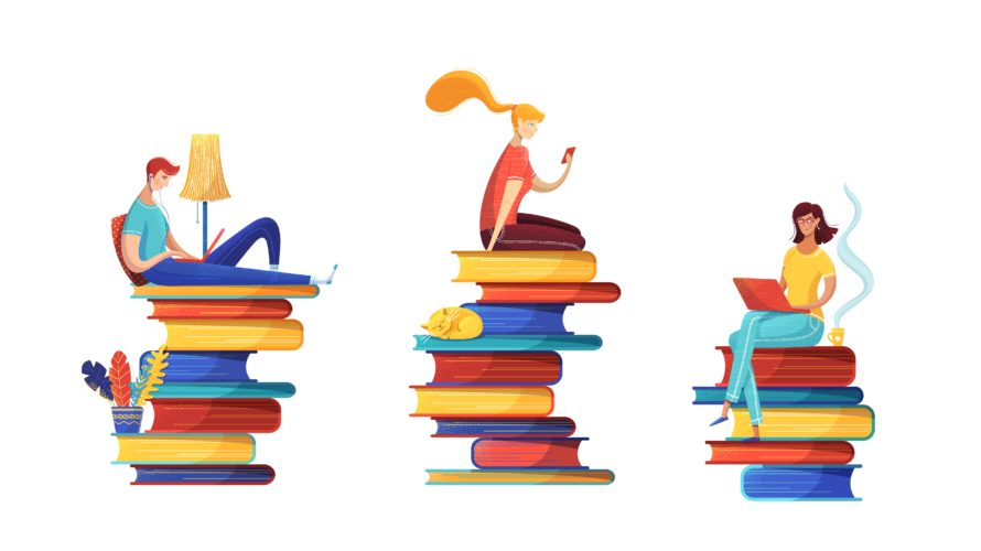 Illustration på ungdomar som läser böcker digitalt