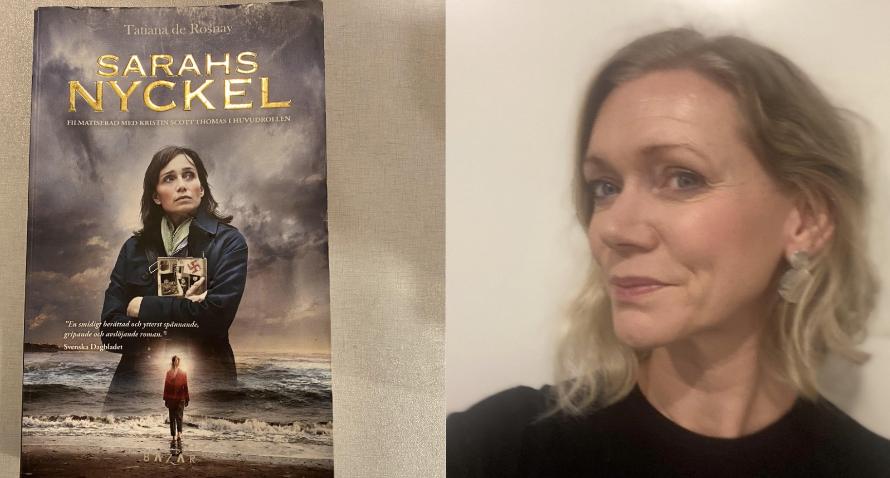 """Omslaget till boken """"Sarahs nyckel"""" och porträttbild på Malin Nihlberg."""