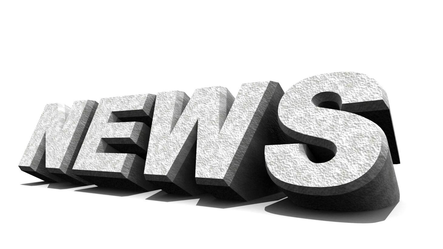 """Ordet """"News"""" i grå nyans mot en vit bakgrund"""