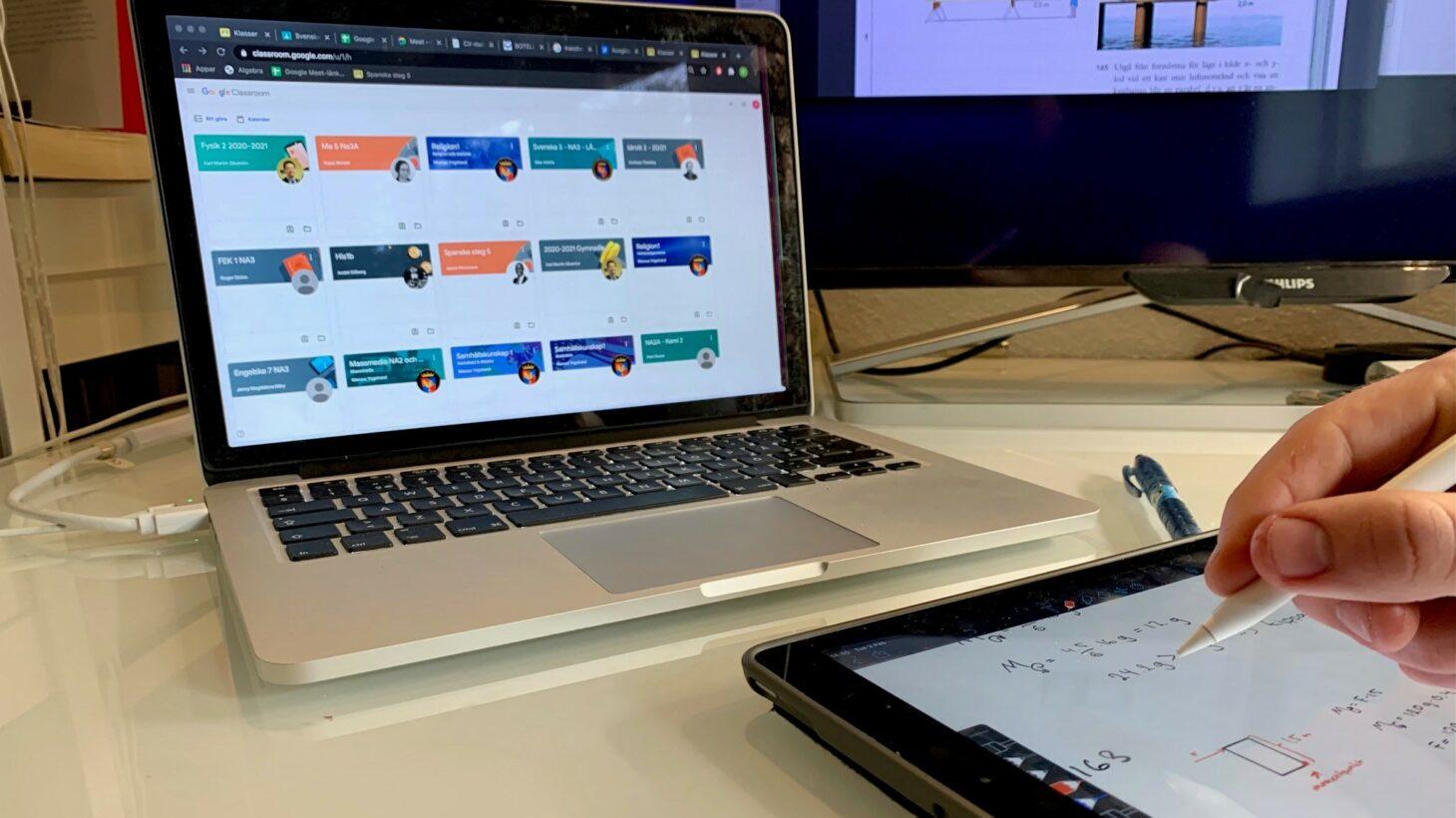 Laptop med google classroom på.
