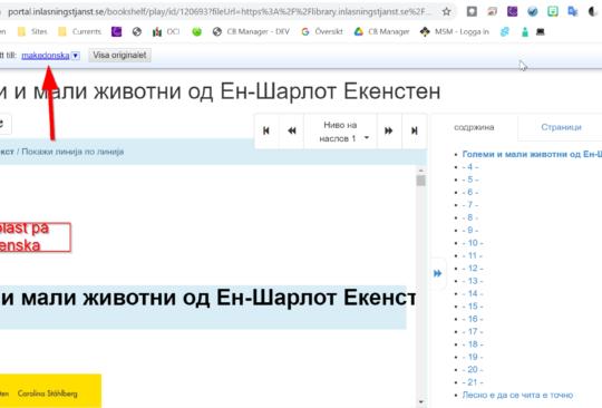 Skärmdump med makedonska bokstäver.