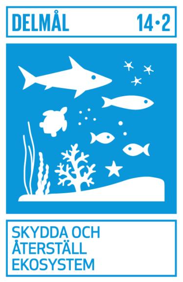 Bilden visar mål 14:2 av de globala målen, Skydda och återställ ekosystem.