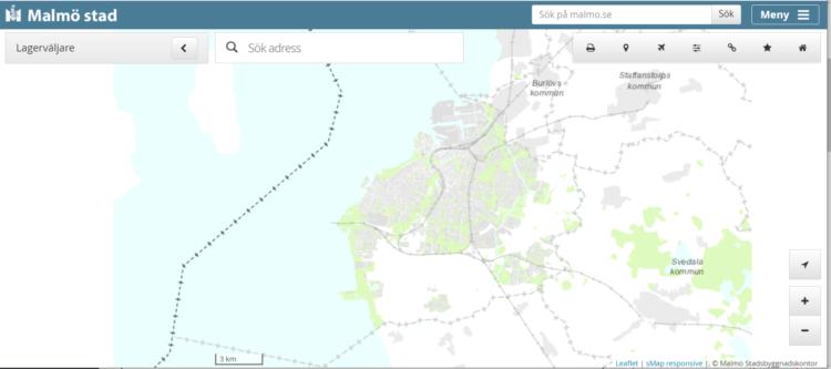 Bilden visar en karta över Malmö.