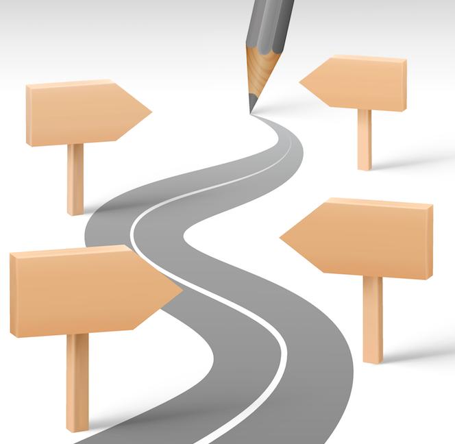 Penna ritar ut en väg. Skyltar visar riktningen.