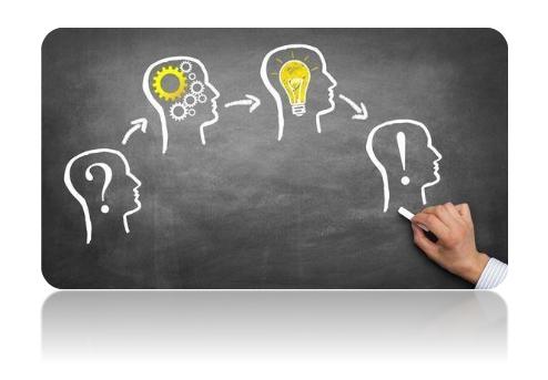 En idé eller tanke illustreras med figur som funderar.