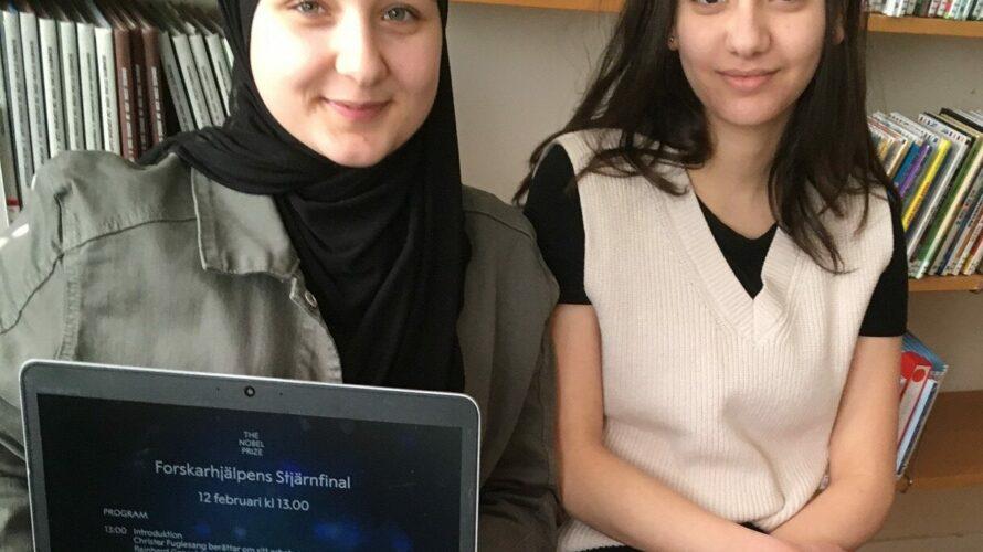 Elever på Apelgårdsskolan med dator.