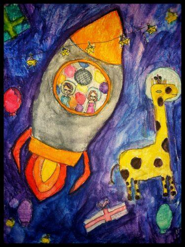 Färgglad målning med bland annat ett rymdskepp och en giraff ute i rymden.