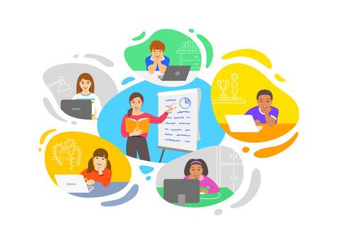 Animerade bilder på lärare och elever.