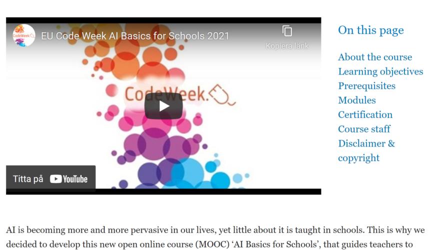 Skärmdump från EU code week.