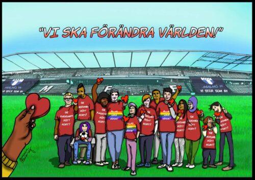"""Tecknad presentation av """"Grundskolefotboll mot rasismer"""""""