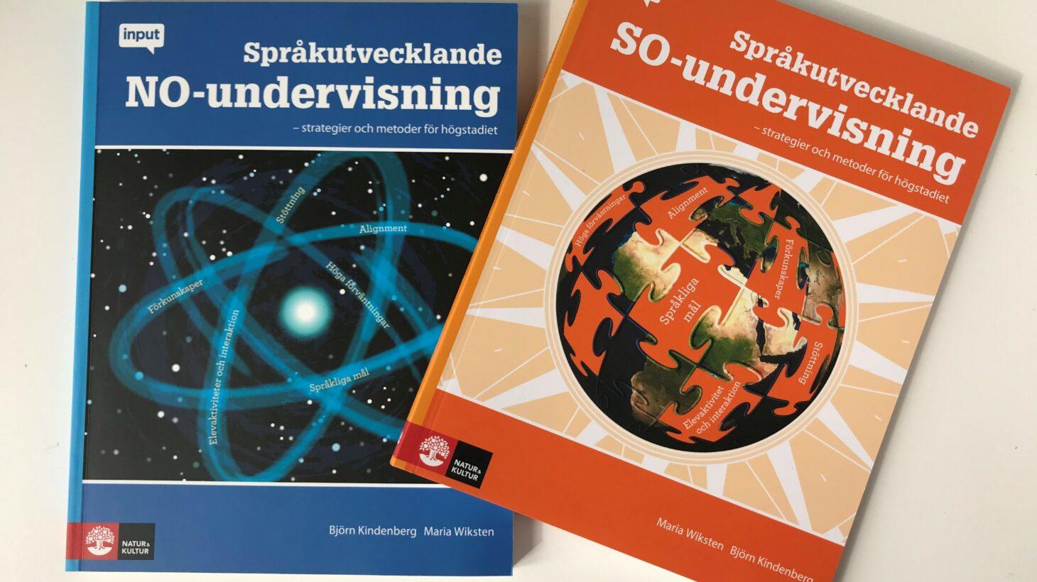 Böcker om SO- och NO undervisning ligger på bord.