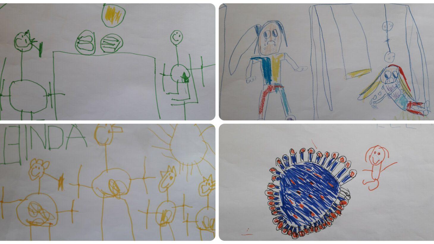 Fyra teckningar ritade av barn i ett kollage.
