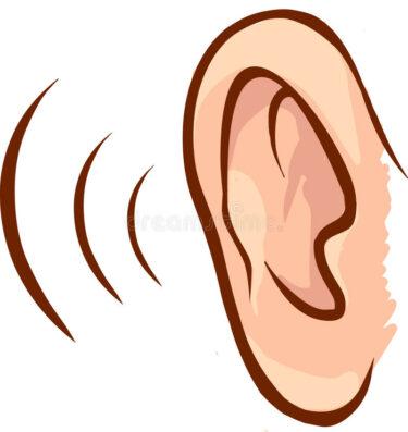 Tecknat öra som lyssnar.