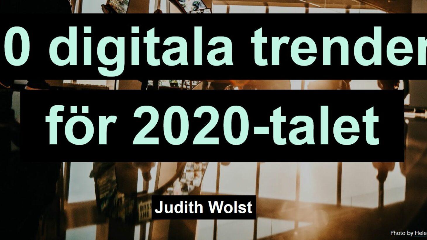 Mörk bild med texten: 20 digitala trender för 2020-talet