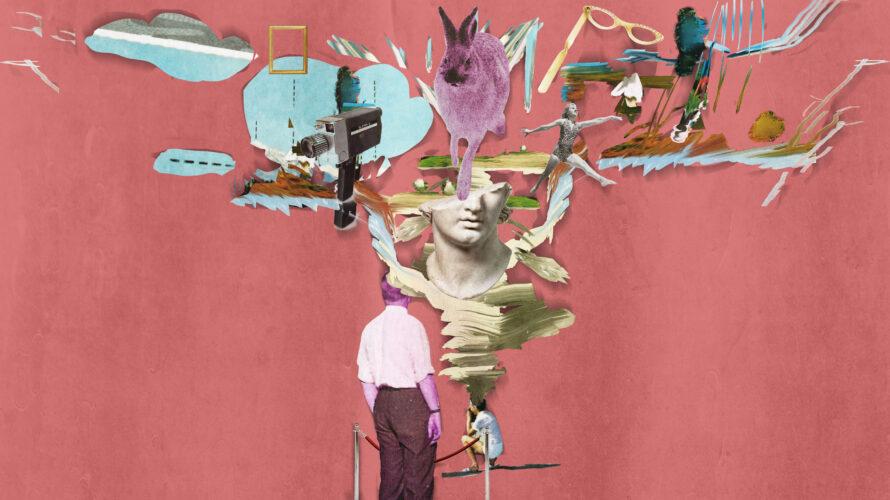 Illustration av saker och figurer mot en röd bakgrund.